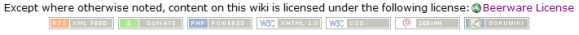 Dokuwiki showing the BeerWare License